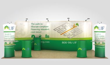 Cina Kain Daur Ulang Tahan Air Pop Up Display Stand Fabric Trade Show Booth pemasok